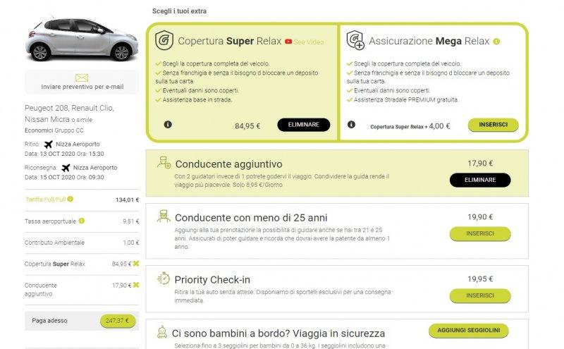 prezzi auto a noleggio